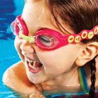 Swimming Lesson Girl with Goggles